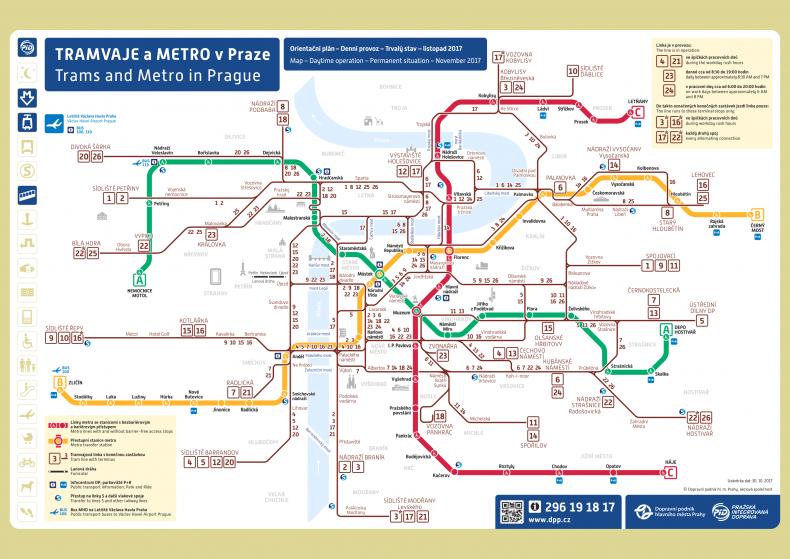 Prága tömegközlekedési térkép